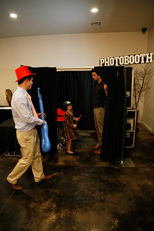 photo booth customer with props