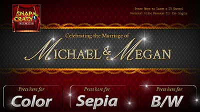 Wedding welcome screen for photobooth rent in edmond and oklahoma city, ok