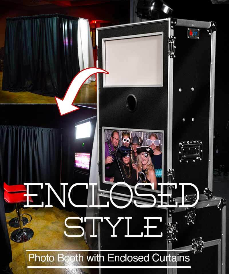 Enclosed photo booth with curtain system. Great for parties and weddings so guests can enter, strike-a-pose and snap some fun photos and cool photo strips with logos and artwork designs.