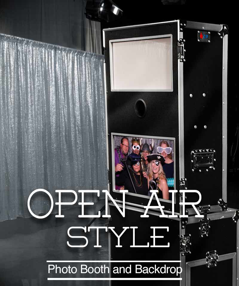 Snap Me Crazy photo booths open air photo booth. This style of photobooth is great for parties and weddings so guests can stand in front of a cool backdrop, strike-a-pose and snap some fun photos and cool photo strips with logos and artwork designs.