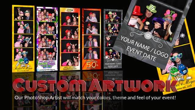 photo booth custom artwork on photo strips feature with every wedding and party rental.