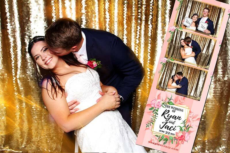 wedding photo booth of couple kissing in photo booth in luther oklahoma.